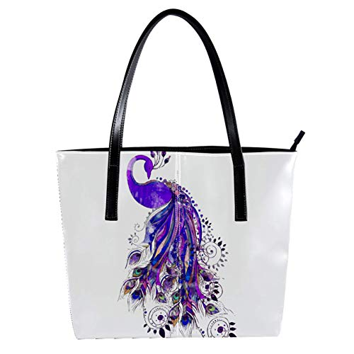 Woman Laptop Tote Bag USB Teacher Bag Large Work Bag Purse Fits Tablet Book Purple Peacock Noble 15.7x11.4x3.5in