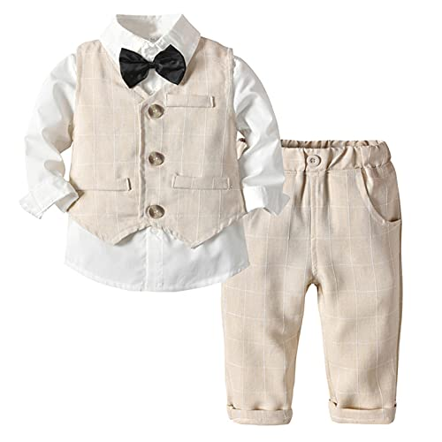 SXSHUN 3 Pièces BéBé Garçon Tenue Costume de Mariage Page Chemise Manches Longues+Pantalon+Gilet Rayures Veston de Cérémonie Gentleman, Jaune, (Taille l'étiquette:110CM)