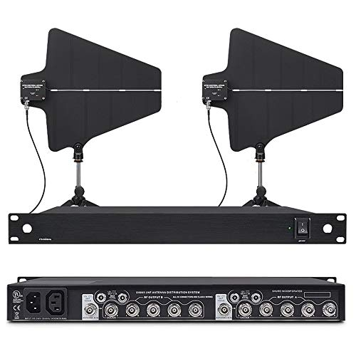 Bolymic Stage Performance Microphone UHF Antenna Distribution System for Dual Wireless Microphone with 2 Active Antenna Paddles