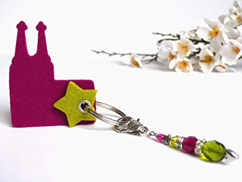 Anhänger Kölner Dom aus Filz mit Perlen magenta hellgrün Geschenk