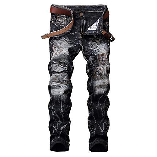 Jeans de Hombre Color sólido Retro Modelos clásicos Moda Agujeros Ro