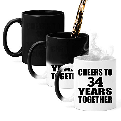 34th Anniversary Cheers To 34 Years Together - 11oz Color Changing Mug Magic Tea-Cup Heat Sensitive - for Wife Husband Wo-men Her Him Wedding Birthday Anniversary Mother's Father's Day
