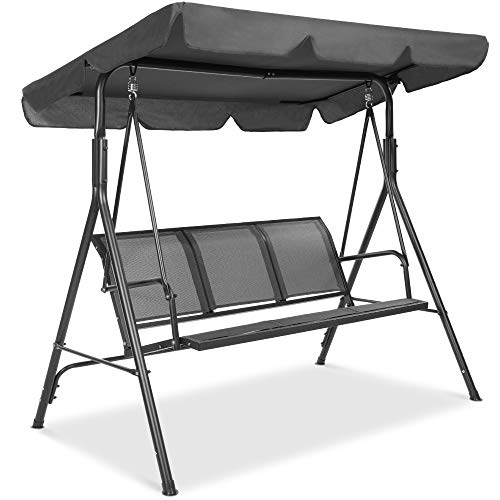 Best Choice Products 3-Seater Outdoor Adjustable Canopy Swing Glider, Patio Loveseat Bench for Deck, Porch w/Armrests, Textilene Fabric, Steel Frame - Gray