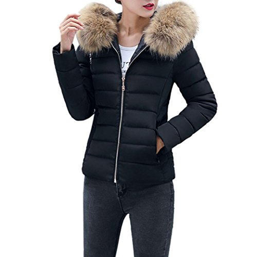 Elecenty Damen Warm Mantel Wintermantel Kurz Winterjacke Dickere mit Kapuze Slim Fit Outwear Baumwollkleidung Parkajacke Reißverschluss Jacke Steppjacke mit Pelz Halsband (L, Schwarz)