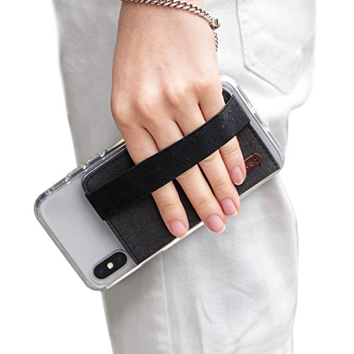 Ringke Flip Card Holder with Elastic Hand Strap Slim Soft Band Grip Fashion Multi-Card Slot Wallet Credit Card Cash Mini Pouch Holder Attachment Compatible with Most Smartphones - Charcoal Black
