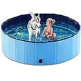 XTD PVC Antideslizante Plegable Perro Piscina para Niños - (160 * 30 Cm) Acepta Piscina Al Aire Libre Jugando Estanque Animal Agua Bañera Sandbox - Juego para Perros Grandes Blue- 80 * 30CM