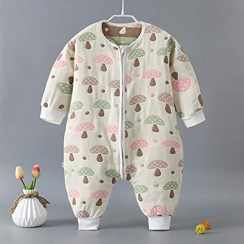 Unisex-baby-inbakerdekens, baby-katoenen gaas-slaapzak, klimpak, gespleten legging-gekleurde paddenstoelen-66cm, pasgeboren baby dikke warme slaapzak