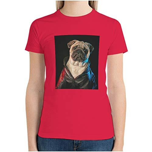 XunYun Pug Cool - Camiseta de manga corta con múltiples patrones para mujer y perro