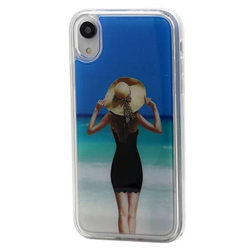 Keyihan iPhone telefoonhoes strand bikini skirt schoonheid schattige glitter stromende vloeistof vloeibare Shiny drijfzand beschermhoes Liquid Case Soft Edge Bumper voor Apple iPhone, iPhone XS Max, Zwart zand
