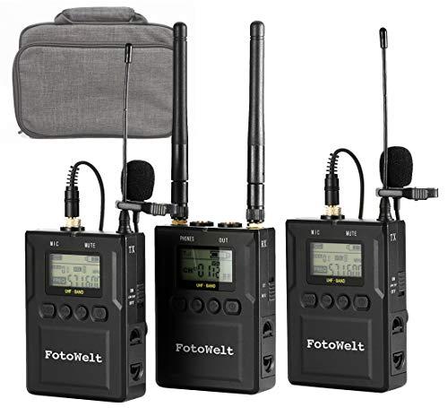 Fotowelt 100 Canali Doppio Canale UHF Microfono Lavalier Wireless Compatibile con Fotocamere/Videocamere DSLR/Telefoni Usato in Registrazione Video, Hosting del Programma Insegnamento e Intervista
