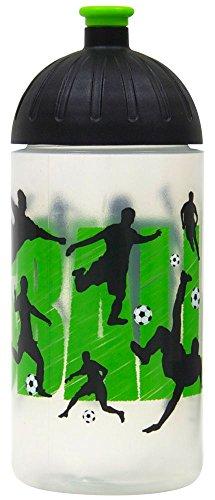 ISYbe Original Marken-Trink-Flasche für Klein-Kinder, 500 ml, BPA-frei, Fußball-Motiv für Mädchen & Jungen, für Schule-Reisen-Kita-Kiga-Outdoor, Auslaufsicher auch mit Sprudel, Spülmaschine-fest
