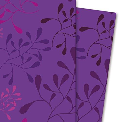 Kartenkaufrausch Modernes Geschenkpapier Set mit Blätter Design, lila pink (4 Bogen, 32 x 47,5 cm) Dekorpapier, Musterpapier zum Einpacken, Designpapier, scrapbooking zum Basteln