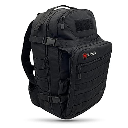 KAYZA Zaino tattico da uomo Spark 35L con sistema Molle e tasca per pala, ideale come zaino da trekking, zaino per lo sport, per laptop, nero,