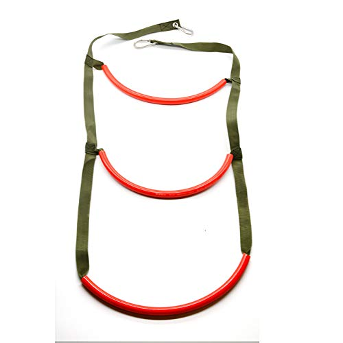 Flyastar Inflatable Boat Rib 3 Step Boarding Ladder Wakeboard Yacht Equipment fit Kayak Motorboat Canoeing (Red)