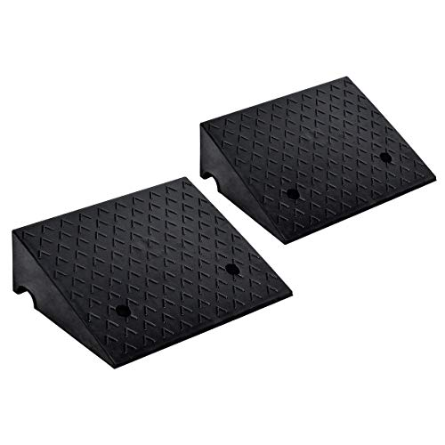 Goplus 2PCS Rubber Car Curb Ramps, 6' Rise Portable Lightweight Threshold Ramp Set Heavy Duty Loading Ramp Slope Motorcycle Pad for Driveway, Sidewalk, Loading Dock