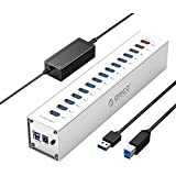 ORICO Powered USB HUB, 13 Ports Aluminum USB 3.0 HUB, 2 Port USB Smart Charging with 12V Power Adapter, Individual LED Indicator, USB Data Hub for Laptop, PC, Mobile HDD, Flash Drive and More
