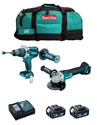 MAKITA Kit MK210 (Taladro Percutor DHP481 + Mini-Amoladora DGA504 + 2 Baterías de 5,0 Ah + Cargador + LXT600)