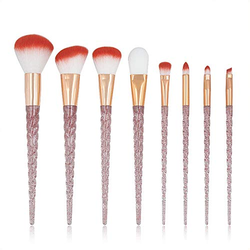 Pinceaux de maquillage femmes Set de pinceau de maquillage licorne poignée transparente Set de pinceau de maquillage Red Dot Diamond Brush Foundation (8PCS) Doux