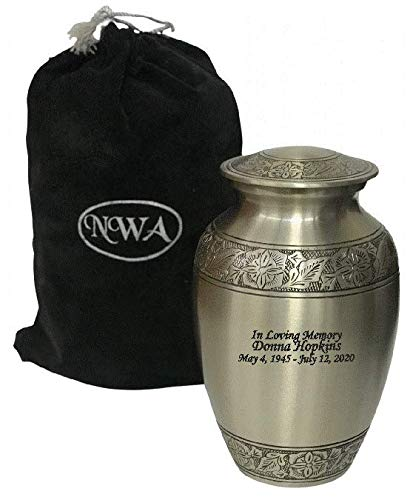 NWA Customized Pewter Funeral Cremation Urn, Adult Size with Personalization