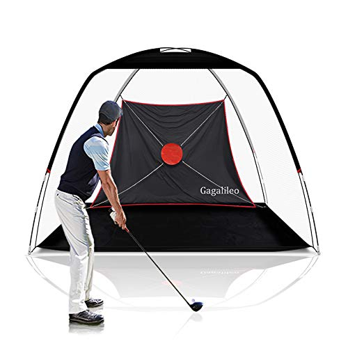 GALILEO Driving Range Golf Net Golf Hitting Nets Training Aids Practice Nets 10' (L) X6.5' (H) X6' (W) for Backyard Chipping Net with Target Carry Bag (White Net) New Model for Indoor Outdoor Sports