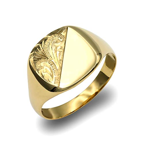 Jewelco London Men's Solid 9ct Yellow Gold Diamond Cut Square Cushion Signet Ring, Size Z