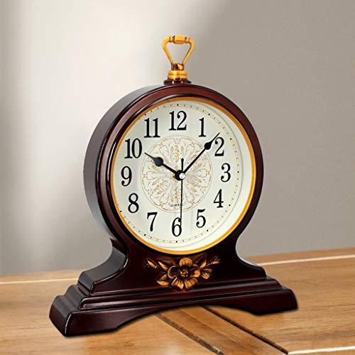 GZQDX Reloj de Mesa de Metal Decoración para el hogar Sala de Estar Disponible de Oficina Reloj de Reloj Vintage Silent Cuartz Table Reloj Escritorio de Escritorio Reloj (Color : Ancient Gold)