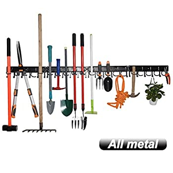 YueTong All Metal Garden Tool Organizer,Adjustable Garage Wall Organizers and Storage,Heavy Duty Wall Mount Holder with Hooks for Broom,Rake,Mop,Shovel(4 Pack)