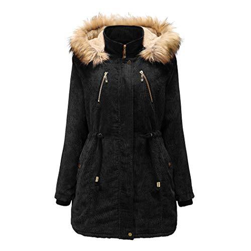 Vrouwen capuchon Corduroy mantel, dames winter-katoenen mantel