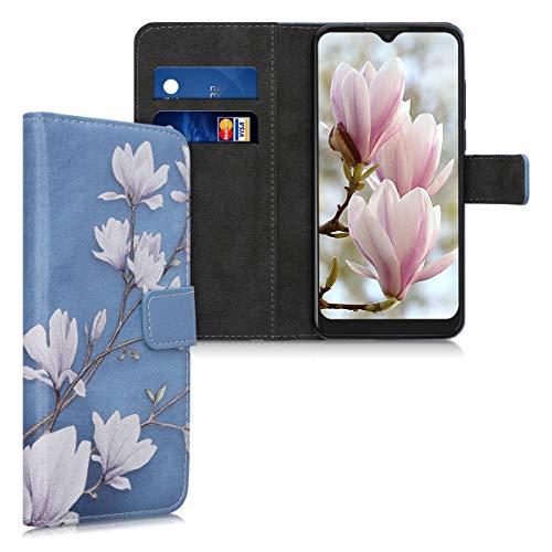 kwmobile Wallet Hülle kompatibel mit Alcatel 1S (2020) - Hülle mit Ständer Kartenfächer Magnolien Taupe Weiß Blaugrau