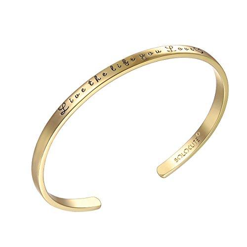 Solocute Gold Damen Armband mit Gravur Live The Life You Love Inspiration Frauen Armreif Schmuck