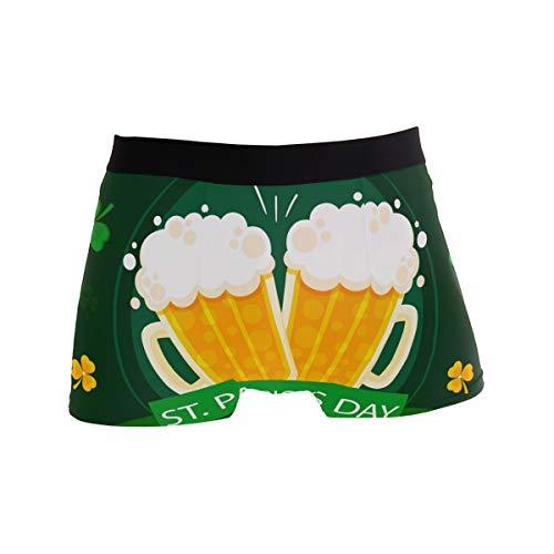 Herren Unterwäsche Boxershorts Bequem Weiche Shorts Männer Sexy Unterhose Geschenke Bier Kleeblatt Patrick Day Gr. S, Schwarz