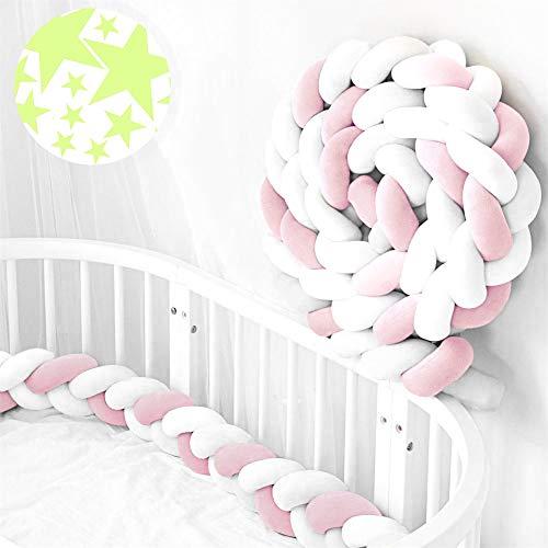ACTENLY Bettumrandung geflochten Bettschlange Babybett Stoßstange Baby Nestchen Weben Kantenschutz Kopfschutz Länge 2m Dekoration für Krippe Kinderbett (Weiß+Weiß+Rosa & 50 Stück Wandtattoo)