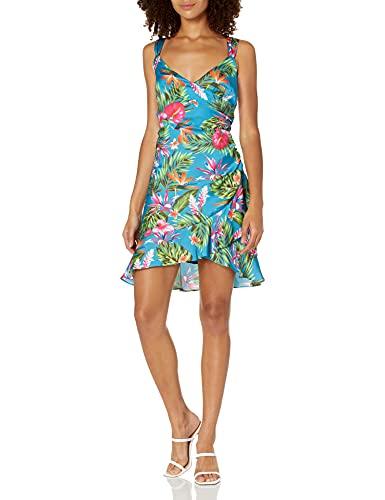 GUESS Women's Eco Sleeveless Larissa Mini Dress, Anthurium Jungle Blue Combo, Medium