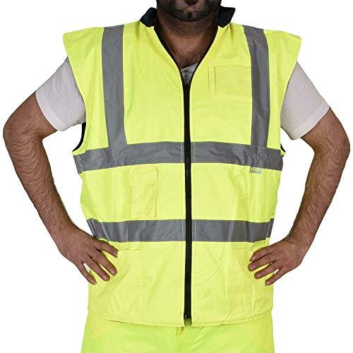 True Face Hi Viz Chaleco calentador de cuerpo reversible repelente al agua Chaleco de seguridad con certificado de la UE amarillo 5XL