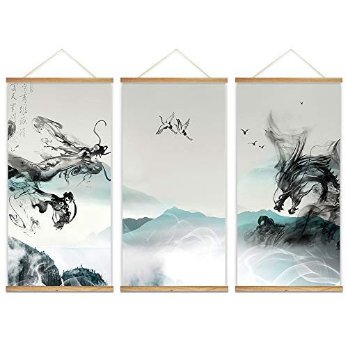 """wall26 - 3 Panel Hanging Poster with Wood Frames - Ink Painting Style Chinese Dragon - Ready to Hang Decorative Wall Art - 18""""x36"""" x 3 Panels"""