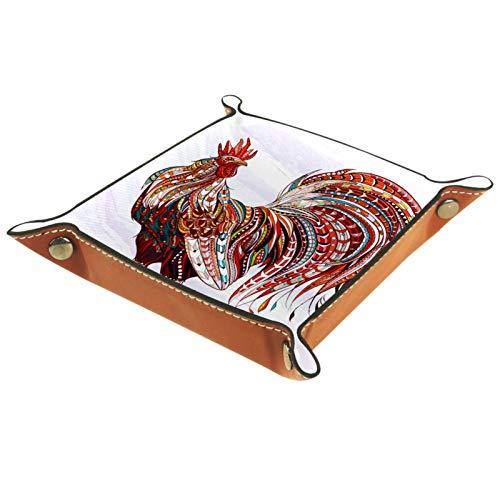 YATELI Caja de Almacenamiento pequeña, Bandeja de Valet para Hombre,Animal Gallo Chook,Organizador de Cuero para Llaves de Caja de Monedas