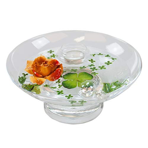 Glass Bowl Hollow H ,10 CM; diameter: 25 CM, includes decorative Rose Red / Brown, Large) by Glaskönig® Komplett Angebote