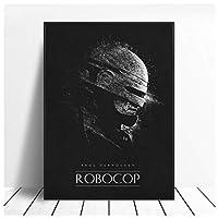 Ipea ロボコップブラックホワイトクラシック映画絵画ポスターとプリントキャンバスウォールアート写真ホームルームの装飾用(19.69X27.56インチ)50X70Cmフレームなし