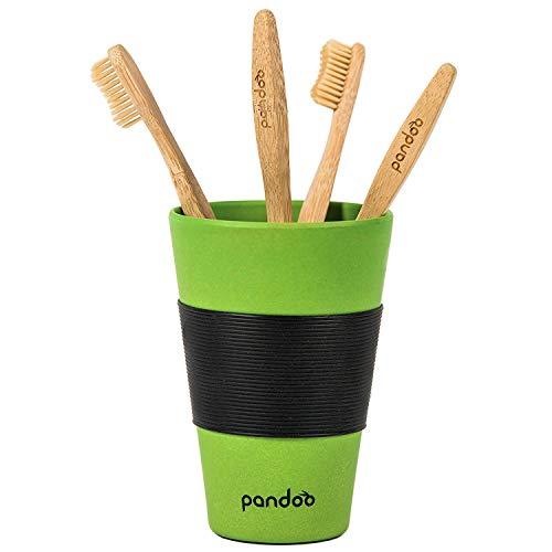 pandoo 4er-Sparset umweltfreundliche Hand-Zahnbürste | Für Erwachsene und Kinder (Mittel bis Weich) | Vegan, Bio, Holzfrei, BPA Frei | Bamboo Toothbrush - 5