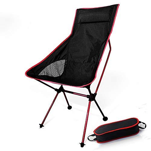 BYBYC Portátiles Pesca sillas de Camping para Barbacoa Silla de Luna Ligeros Plegables extendido Senderismo Silla de Oficina Ultraligero Mueble de casa con la Almohadilla,Rojo