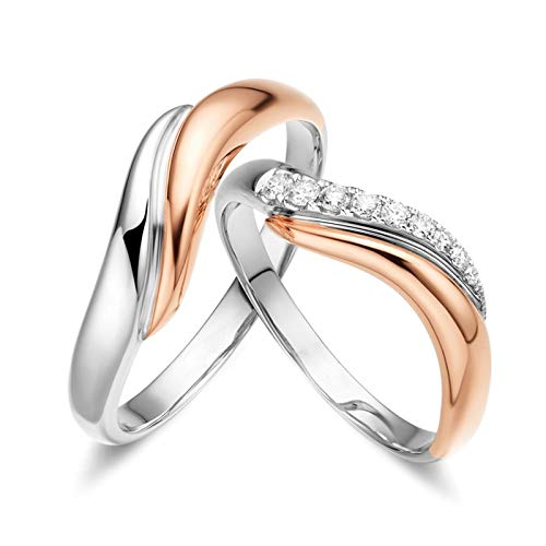 Daesar 18K Gold Anniversary Ring for Men and Women Wedding Rings Set Her and Him Wave Round with 0.15ct Jewellery Rings Diamond Silver Rose Gold Ring Women Size M 1/2 & Men Size Q 1/2
