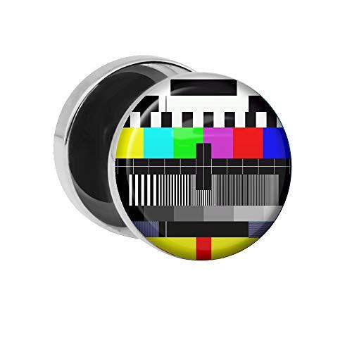 Treuheld | Ohrstecker zum Schrauben - TV Testbild - bunt - Motiv Fake-Plug Ø 10mm Silber - Edel-Stahl Ohr-Ringe - Chirurgen-Stahl 316L Fake-Tunnel - Gewinde Ohr-Stecker - Fern-Sehen Fehler-Bild