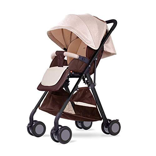 MAMINGBO Cochecito de bebé ligero Cochecito de cuna plegable Cochecito de viaje portátil for recién nacidos y niños pequeños (Color : Marrón)