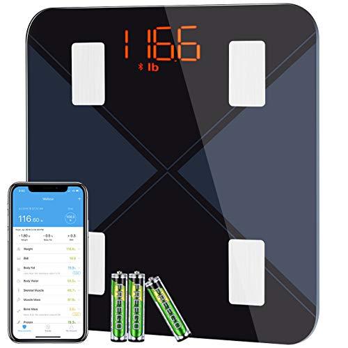 Bascula de Baño Digital Grasa Corporal, Mpow BásculaInteligente con App, Analizar...