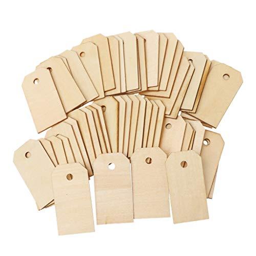 Geschenkanhänger aus Holz, blanko, unlackiert, zum Aufhängen, Ornamente, Party, Hochzeit, 50 Stück