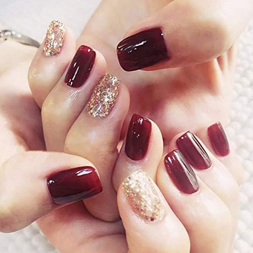 Handcess Round Wine False Nails Glitzer-Ballerina-Nägel Full Cover Gefälschte Nagelspitzen Acryl Nail Art Maniküre
