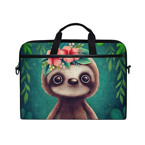AHOMY 15 Inch Laptop Bag Cute Sloth with Leaf Shoulder Laptop Sleeve Case Bag with Adjustable