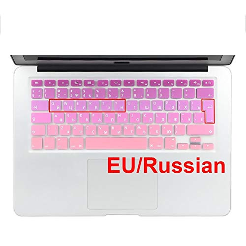 Easy to use Euro Spanish English Russia water Dust proof keyboard cover for macbook Old air 13 protector change colors Retina 13 15 CD ROM Keybaord Skin Protector (Color : EU Russian Pink)