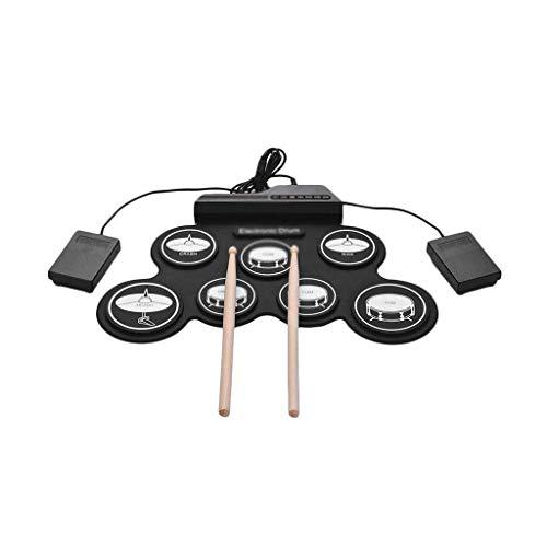 Elektronische Drum Set E-Drum Set, E-Drum Set, tragbare elektronische Drum Pad - Eingebauter Lautsprecher Digital-Roll-Up-Touch-Pads Beschriftete Elektronisches Schlagzeug Kit