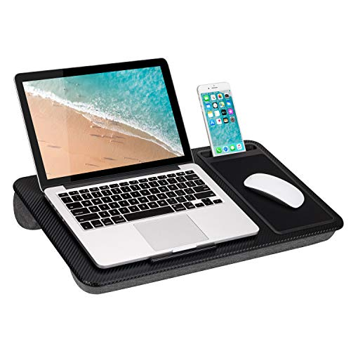 LapGear Home Office Lap Desk with Device Ledge, Mouse Pad, and Phone Holder – Black Carbon – Fits Up to 15.6 Inch…